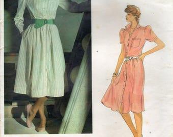 Vogue 2717, American Designers, Ralph Lauren, Misses' Dress Pattern, Classic Shirtdress Design, Size 12, Unused Vintage Sewing Pattern