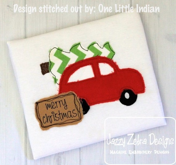 Merry Christmas Car with tree shabby chic appliqué embroidery design - car appliqué design - Christmas appliqué design - Christmas tree