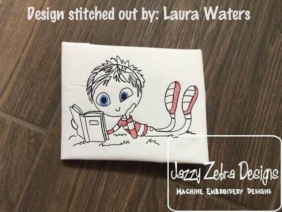 Swirly boy reading 4 sketch embroidery design - reading embroidery design - boy embroidery design - sketch embroidery design - book design