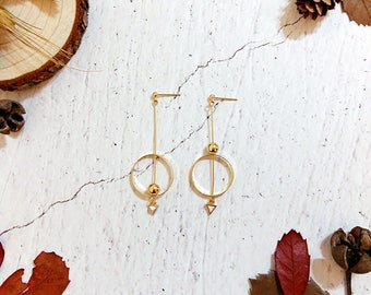 Minimalist Geometric Collection | Minimalist Earrings, Geometric Earrings, Asymmetrical Earrings, Howlite Earrings, Round Circle Earrings