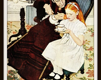 Norman Rockwell Art, Grandmother and Granddaughter Having Tea, The Handkerchief, 1940 Vintage Book Plate Art, Ready to Frame