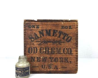 Antique 1900s Wood Crate Sanmetto OD Chemical Company New York Vintage Wooden Dovetail Crate Chemical Company Wood Crate Advertising Box