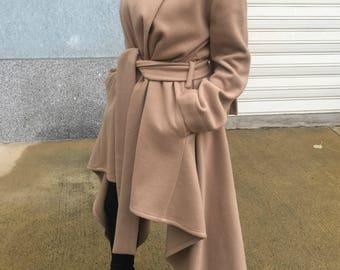 Asymmetrical Women Wool Coat with Scarf / Winter Cape Coat / Long Sleeves Trench Coat / Women Jacket / Oversize Coat