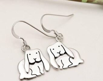 Sterling Silver Lop Eared Bunny Earrings - Bunny Jewellery - Drop Earrings