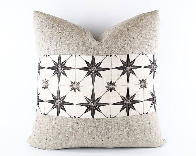 Belgian Linen And Moroccan Tile Print Linen Textile Pillow Cover Various Sizes