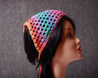 cotton festival bandana, crochet kerchief, hippie headband, gift for her, eco friendly, mesh hairband, girlfriend gift