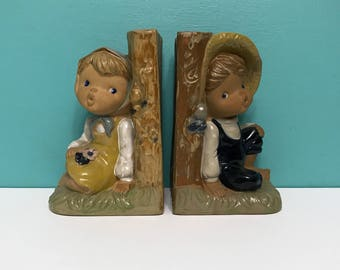 Vintage Boy and Girl Bookends - Made in Japan