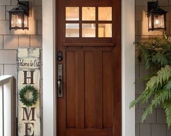 Porch Sign HOME 4' Welcome to Our Home Sweet Home Faux Boxwood Reversible Two Sided Option Reclaimed Hard Woods Hand Painted