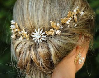 Wedding Hair Piece, Bridal headpiece,  Gold Leaf Hair vine , Bridal Hair comb , Goddess Headpiece,  Gold  Earrings , UK - CAROLINE