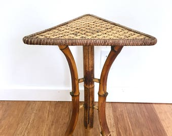 Bamboo Rattan Side Table, Triangle Top Plant Stand, Bohemian Accent Table,  Boho Furniture