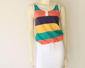70's Vintage Large Stripe Drawstring Waist Tank Top