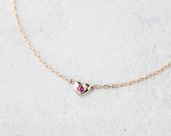 14k gold ruby bracelet, heart bracelet, 14k rose gold, 14k white gold, valentines day gift, valentine's day gift, natural ruby, hea-b102 RTS