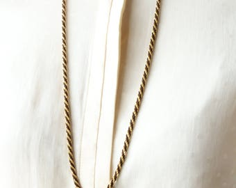 Twisted Gold Black Necklace - Twisted Gold Chain - Long Twisted Chain Necklace