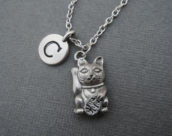 Maneki Neko Japanese Cat Necklace, Silver Lucky Japanese Cat Keychain, Maneki Neko Cat Bangle Bracelet, Furry Feline Fur Baby Meow Purr