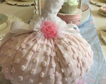 Pale Pink Vintage Chenille Fabric Pumpkin