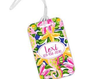 Tropical Luggage Tag -  Cute Preppy Bright Islands - Beach Vacay - Name ID Tag - Spring Break Bag Tag ID