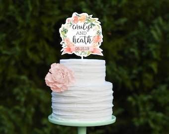 Wedding Cake Topper - Floral Cake Topper - Calligraphy Wedding Cake Topper - Watercolor Cake Topper