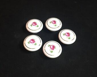 Set of 5 Vintage Porcelain Knobs, Dresser Drawer Pulls, Cabinet Knobs