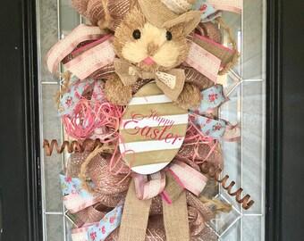 Easter Door Swag, Easter Wreaths, Easter Bunny Door Hanger, Easter Decoration, Spring Wreaths, Double Door Wreaths
