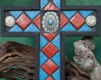 Southwest Mosaic Cross~Southwest Design Cross~Wall Cross~Housewarming Gift~Christian Decor~Southwest Decor~Wedding Gift~Housewarming Gift