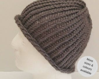 winter accessories, knitted beanie hat, Christmas stocking filler for him, knitted man's beanie hat, woolly beanie, winter beanie hat
