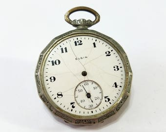 Vintage, Nassau, Pendant, Pocket Watch, Movement, Elgin Dial, Steampunk, Altered Art, Jewelry, Beading, Supplies, Supply