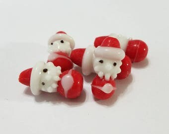 Christmas, Lampwork, Glass, Santa, Santa Claus, Handmade, Red, White, Bracelet, Earring, Beads, Jewelry, Beading, Supplies