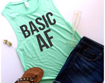 Basic AF Muscle Tank, Customize Your Colors, S-XL, Workout Tank, Champagne, Champagne Shirt, Brunch Shirt, Mimosa Shirt