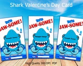 Shark Valentine Cards - Shark Valentine's Day - Valentines for Kids - Valentines for him - Instant Download