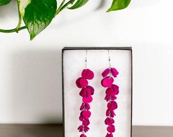 HUURA earrings - Pink reindeer leather earrings - Long dangle earrings - Cluster earrings - Handmade earrings
