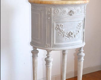 Old drum chiffonier bedside table Louis XVI patina