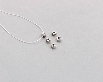 5Pcs 5mm Sterling Silver Beads -- 925 Silver Antique Tibetan Style Charms Wholesale For Bridesmaid Gift Party XXSP-T0061