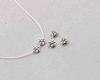 4Pcs, 5mm Sterling Silver Flower Beads -- 925 Silver Antique Tibetan Style Charms Wholesale For Bridesmaid Gift Party XXSP-S0042,YHA