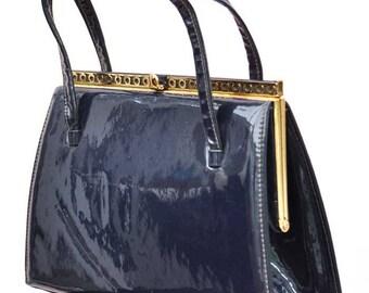Vintage 60s Navy Blue Patent Leather Kelly Handbag • Shiny Leather Top Handled Bag