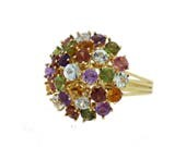 18K Yellow gold Multi-gemstone ring