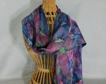 "Silk Scarf/Shawl ""Navy-Moss-Maroon"", Hand Painted Silk Jacquard Scarf, Navy Blue Scarf"