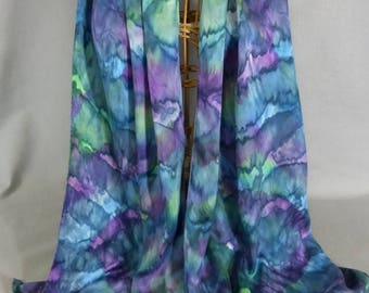 """Silk Scarf """"Teal, Green, and Purple Blend"""", Hand Painted Silk Jacquard Scarf"""