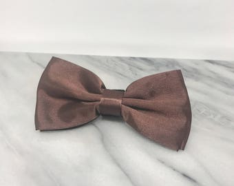 Deep Brown Bowtie for Wedding Dog Outfit Pet Wedding Gray Bow Tie Dog Collar