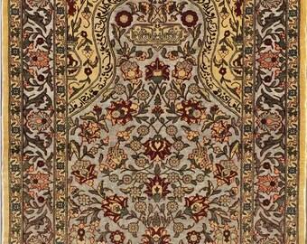 "Very fine Turkish Hereke rug %100 Silk & Gold threads 2'1""x3'1'' ~ 625 KPSI"