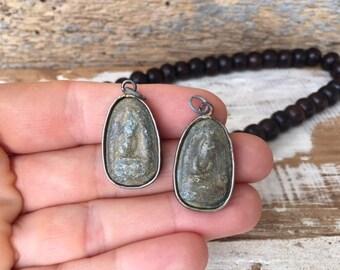 Set of 2 Buddha Amulet Pendants in Antique Brass Frames / Thai Amulets / Buddha Amulets / Buddhist Amulet / Amulet / Buddha Charm / S33