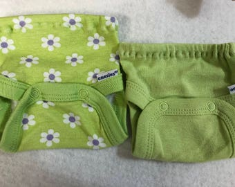 Baby Doll Diaper Covers, Panty, 15 inch AG Bitty Baby Clothes or Twin, Fits 16 inch Cabbage Patch Doll, SET of 2 for 3.00, FLOWERS & Green