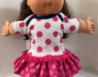 """Cabbage Patch 16 inch Doll Clothes, Cool Big """"PINK Polka Dots"""" Ruffle & Lace Trim Dress, 16 inch Cabbage Patch, Love Polka Dots!"""