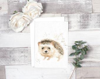 hedgehog cards, hedgehog birthday card, woodland animal, animal cards, hedgehog gifts, hedgehog birthday, handmade cards, watercolour cards