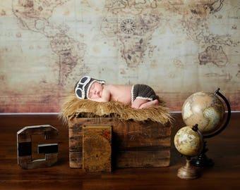 Crochet Newborn Aviator Outfit, Baby Aviator Outfit, Newborn Photo Prop, Baby Boy Photo Prop, Aviator Set