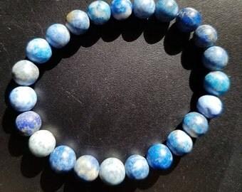 Blue Denim Lapis Beaded Bracelet