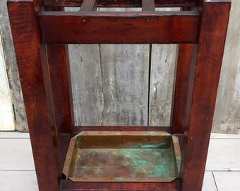 Antique Arts & Crafts Mission Oak Wood Umbrella Cane Stand w/ Copper Pan c. 1910 **FREE SHIP**