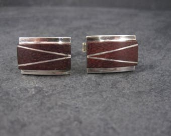 Vintage Mexican Sterling Wood Inlay Cufflinks Cuff Links