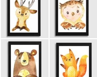 woodland nursery - woodland animals - nursery decor - nursery wall art - nursery art - woodland decor - baby boy nursery, room wall decor