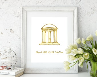 Chapel Hill gold foil print/Old Well print/Chapel Hill Tarheel/ UNC art/Tarheel art/Old Well Art/Chapel Hill North Carolina gold foil print
