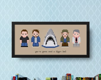 Jaws Cross Stitch Pattern PDF | Shark Cross Stitch | DIY Movie Wall Decor | Jaws Quote Bigger Boat | Steven Spielberg | Fan Art X Stitch